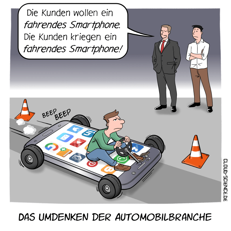 Fahrendes Smartphone Automobilindustrie Mobilität Cartoon Karikatur