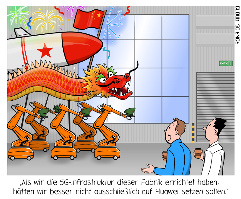 Huawei 5G industrie Cartoon Karikatur