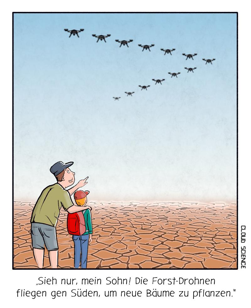 Forst Drohnen Klimaschutz Cartoon Karikatur Technik