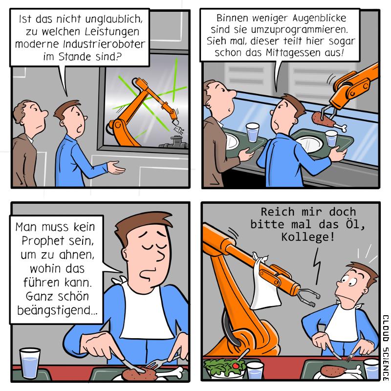 industrieroboter Cartoon Karikatur Automatisierung Comic