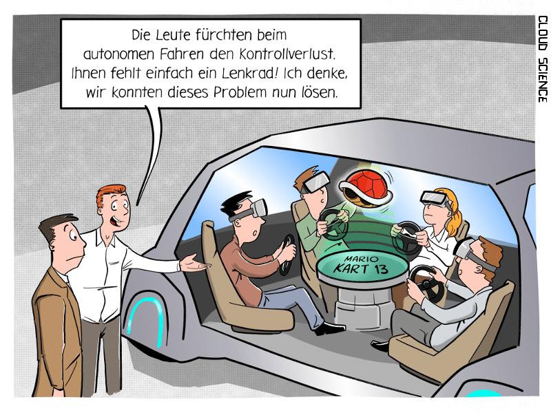 Kontrollverlust autonomes Fahren Cartoon Karikatur