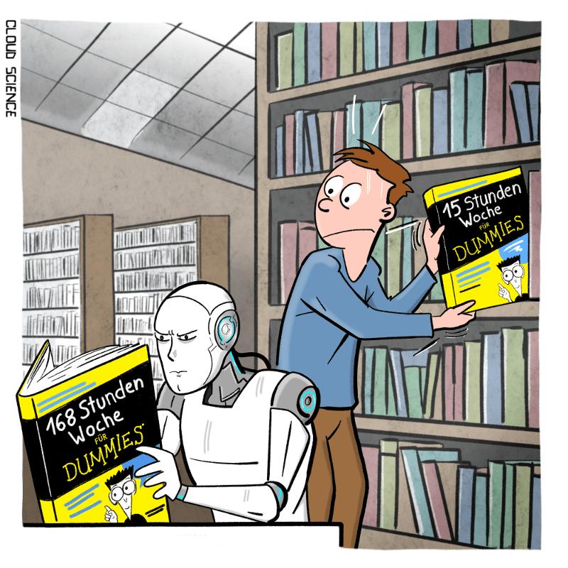Arbeitszeit von Roboter Vs. Mensch Cartoon Karikatur