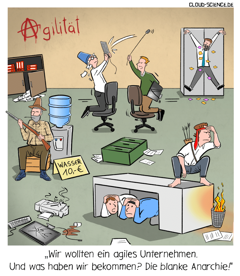 Agilität Anarchie NewWork Cartoon Karikatur