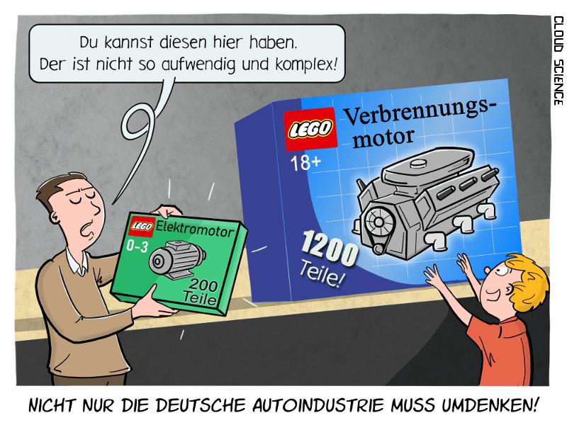 Elektromotor Verbrennungsmotor Lego Technik Cartoon Karikatur