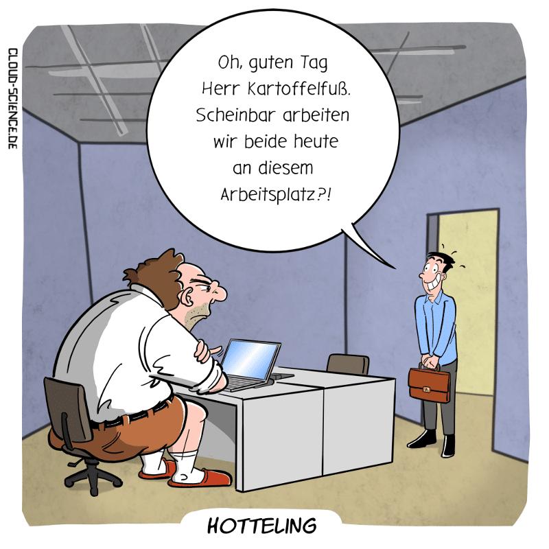 Hotteling Arbeitsplatz buchen Cartoon Karikatur