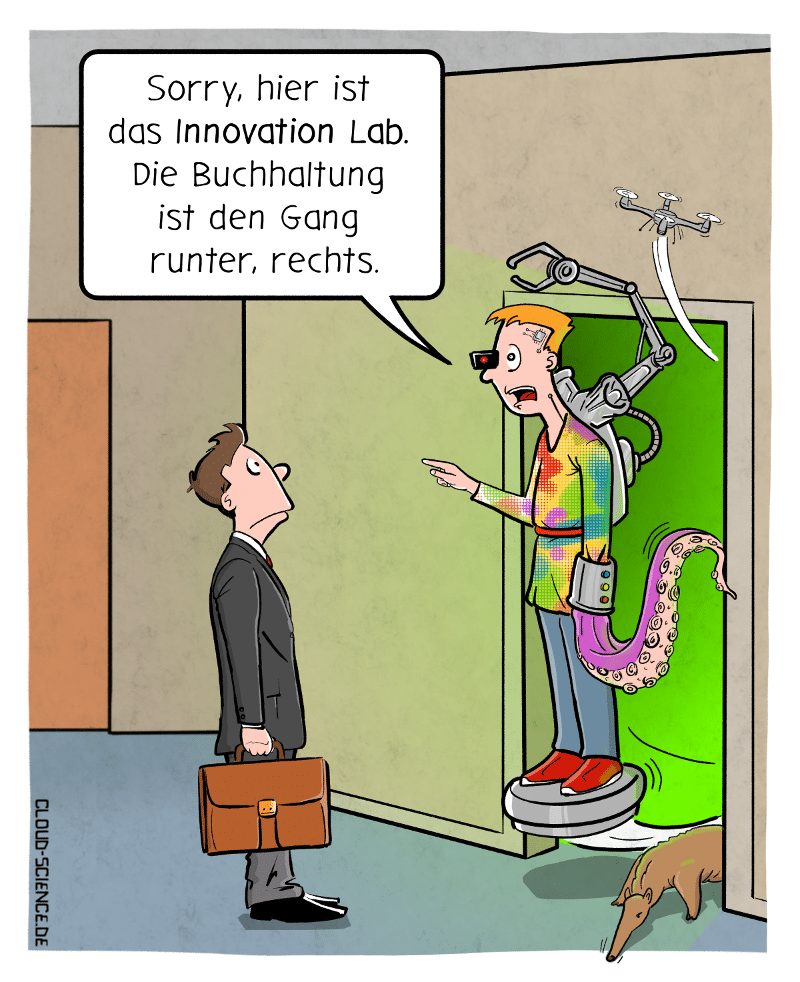 Innovation Lab Cartoon Karikatur