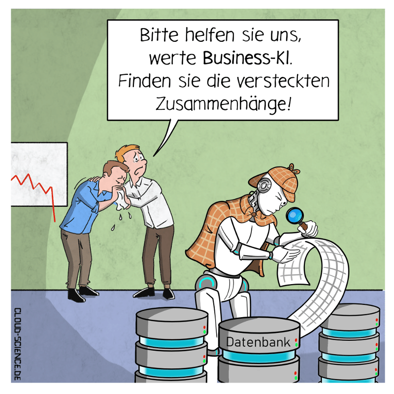 Business-KI Detektiv Suche nach Zusammenhängen Cartoon Karikatur