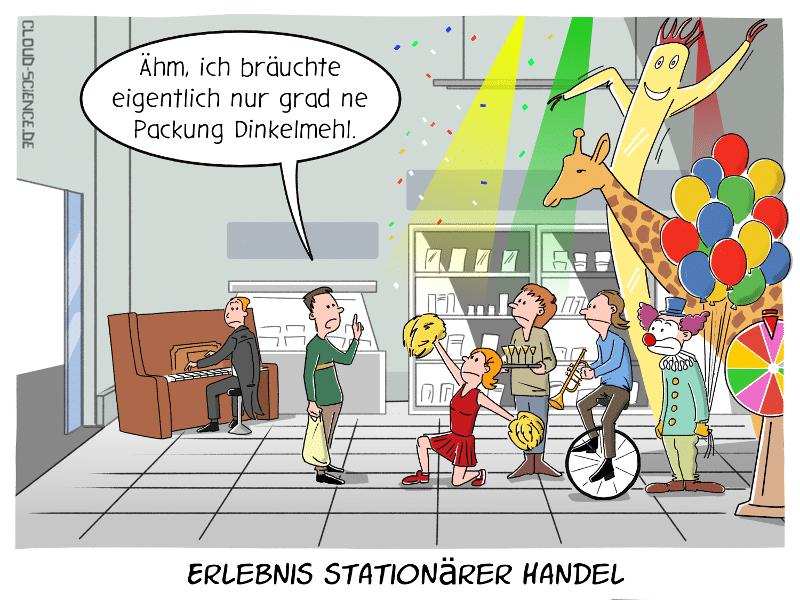 Erlebnis stationärer Handel Cartoon Karikatur