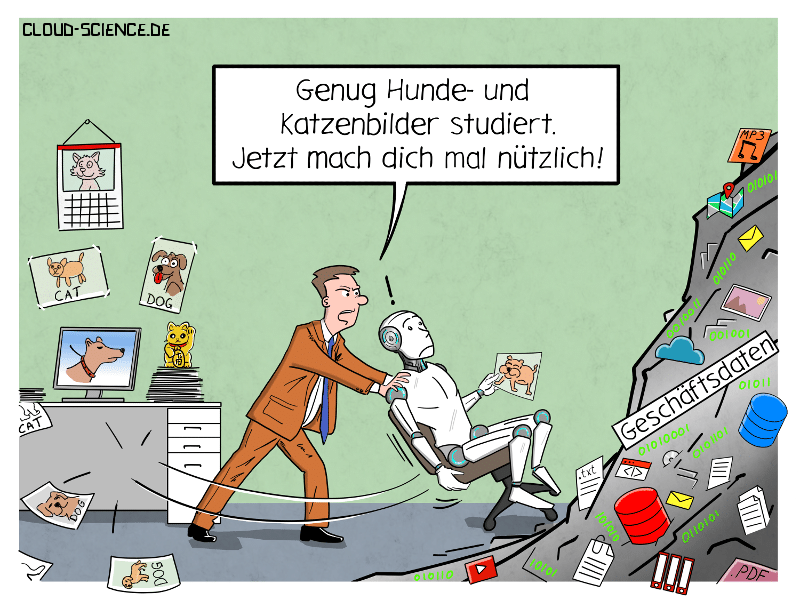 Ki Business Daten Deep LEarning Cartoon Karikatur