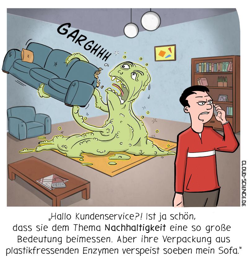Nachhaltigkeit Monster Verpackung pastikfressende Enzyme Cartoon Karikatur