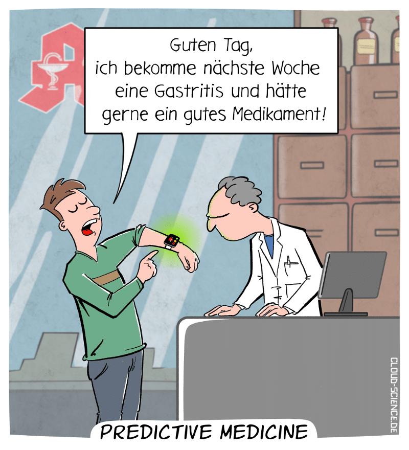Predictive Medicine Cartoon Karikatur Apotheke