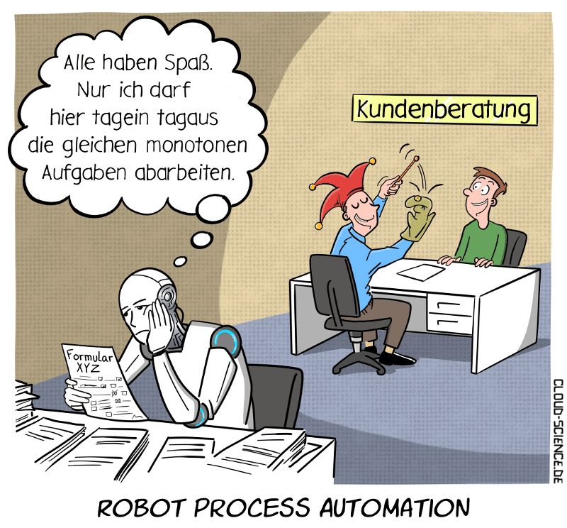Robot Process Automation RPA Cartoon Karikatur