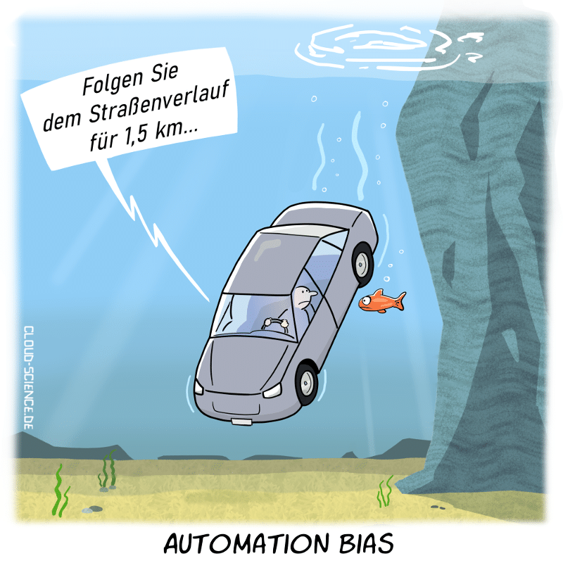 Automation bias Cartoon Karikatur Technik Auto Navi