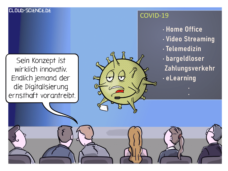 Corona Coronavirus Covid-19 Digitalisierung Cartoon Karikatur