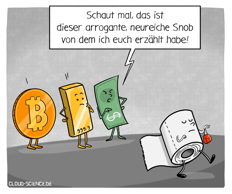 Klopapier Hamsterkauf Gold Sparen Bitcoin Geld Währungsmittel Toilettenpapier Coronakrise COVI19 Cartoon