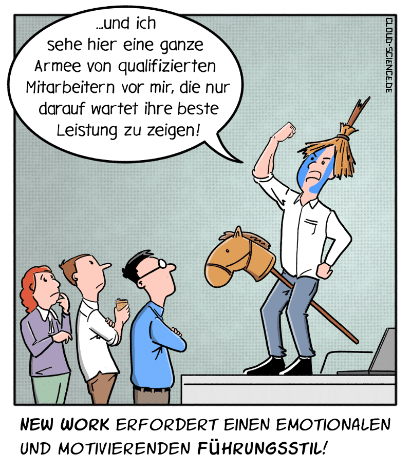 New Work Führung Führungsstil Management Arbeiten40 Motivation Karikatur Cartoon
