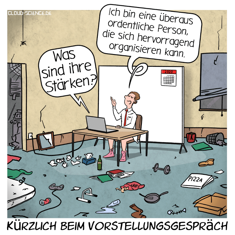 Remote Recruiting Online Vorstellungsgsespräch Home Office Cartoon Karikatur
