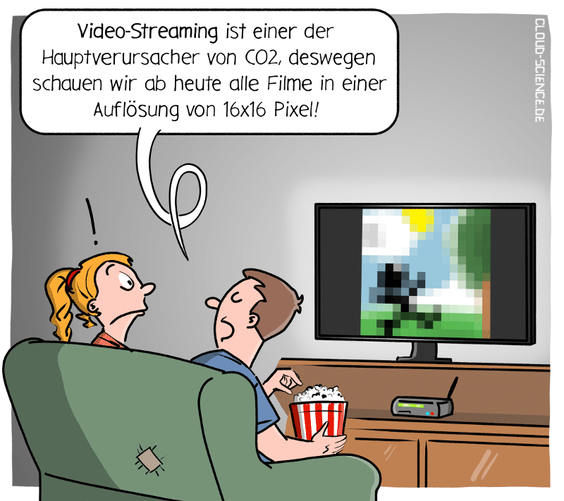 Video-Streaming Klimaschutz Co2 Cartoon Karikatur