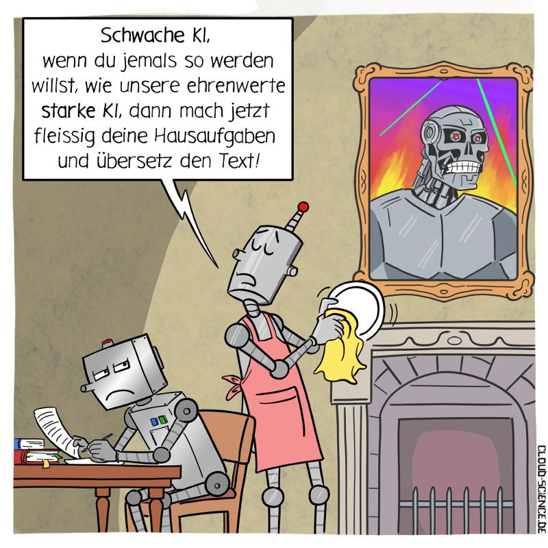 Künstliche Intelligenz starke KI Vs. schwache KI Cartoon