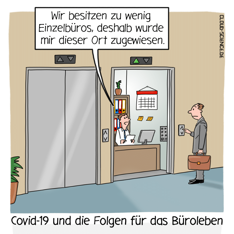 Social Distancing im Büro Arbeitsbedingungen Arbeitsschutz Corona Business Cartoon Karikatur