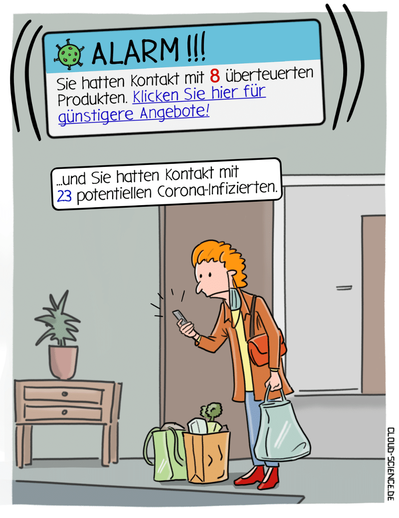 Tracing-App Cartoon Datenschutz Überwachung Bundesregierung Karikatur