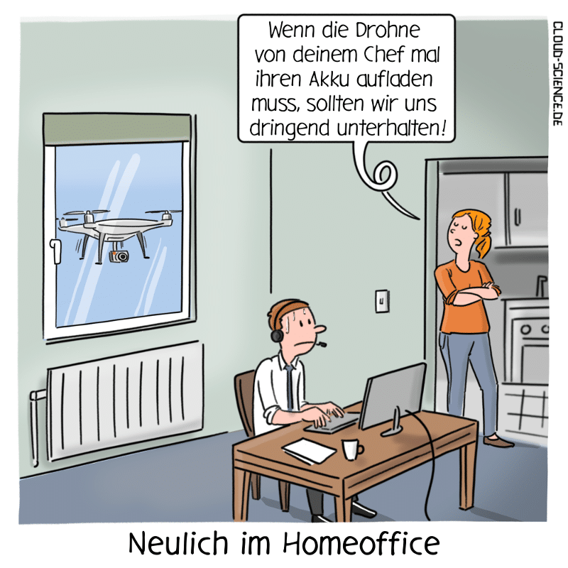 Vertrauen Führung Homeoffice Management BusinessCartoon