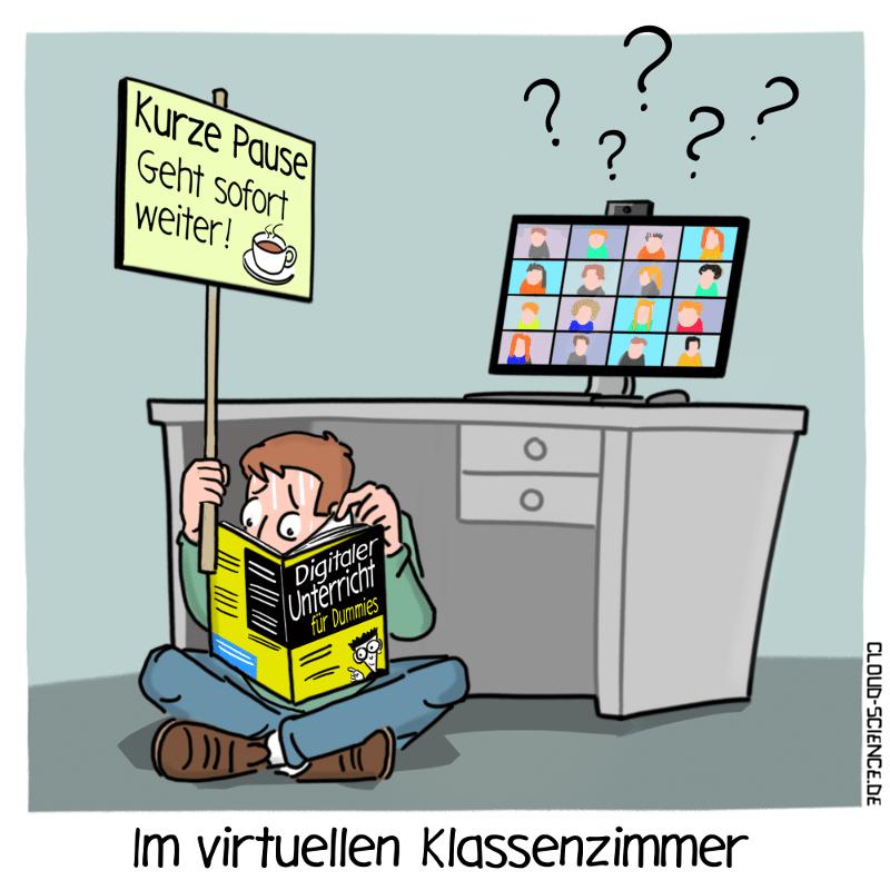 digitaler Unterricht Digitalisierung Schule Lehrer Cartoon