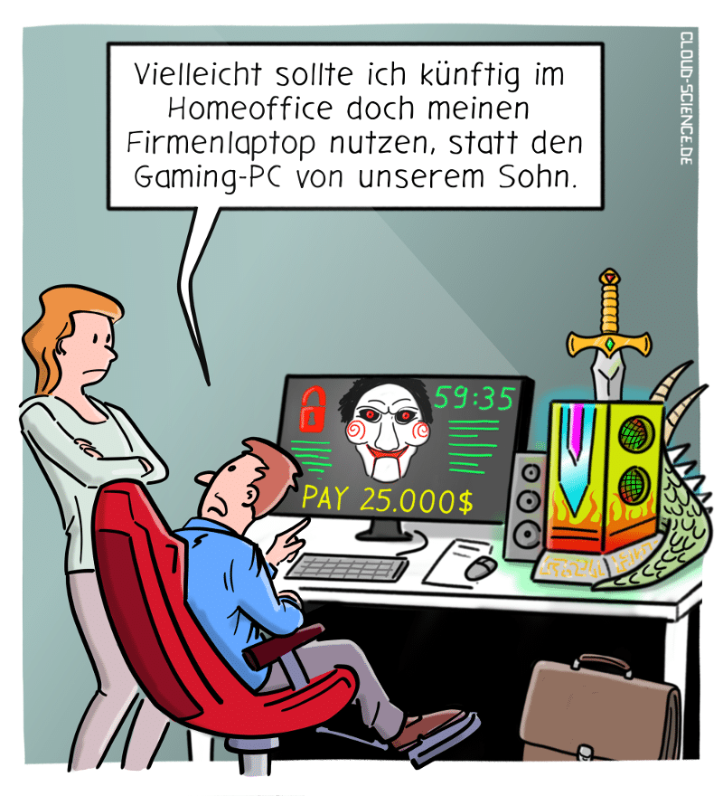 Homeoffice ITSicherheit Ransomware Cartoon Karikatur
