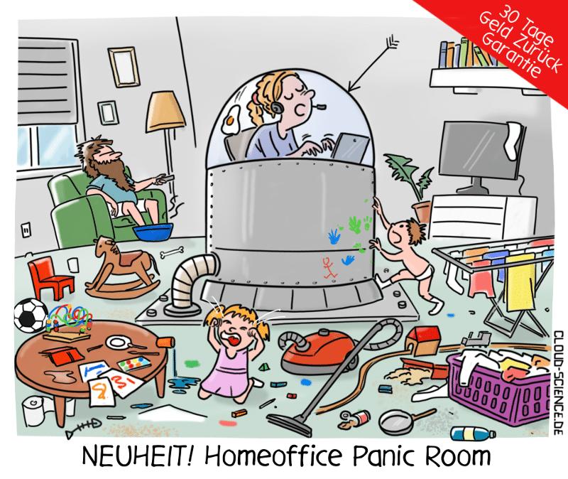 Homeoffice Corona Panic Room Cartoon Karikatur