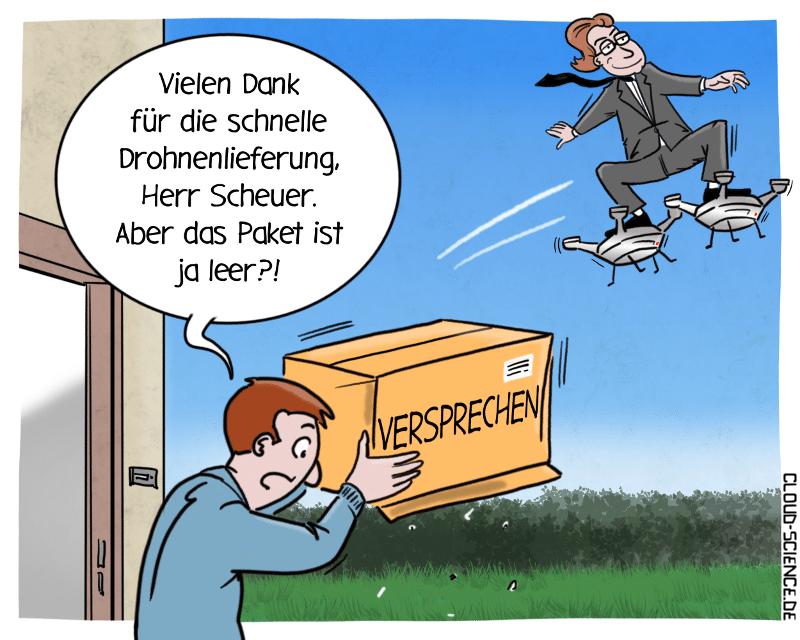 Drohnen Aktionsplan Andreas Scheuer. Investitionen in Drohnen und Flugtaxis. Karikatur