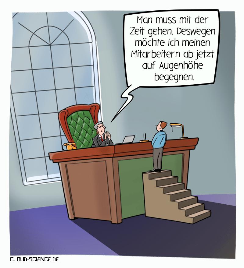 Führung auf Augenhöhe Management New Work Cartoon Karikatur