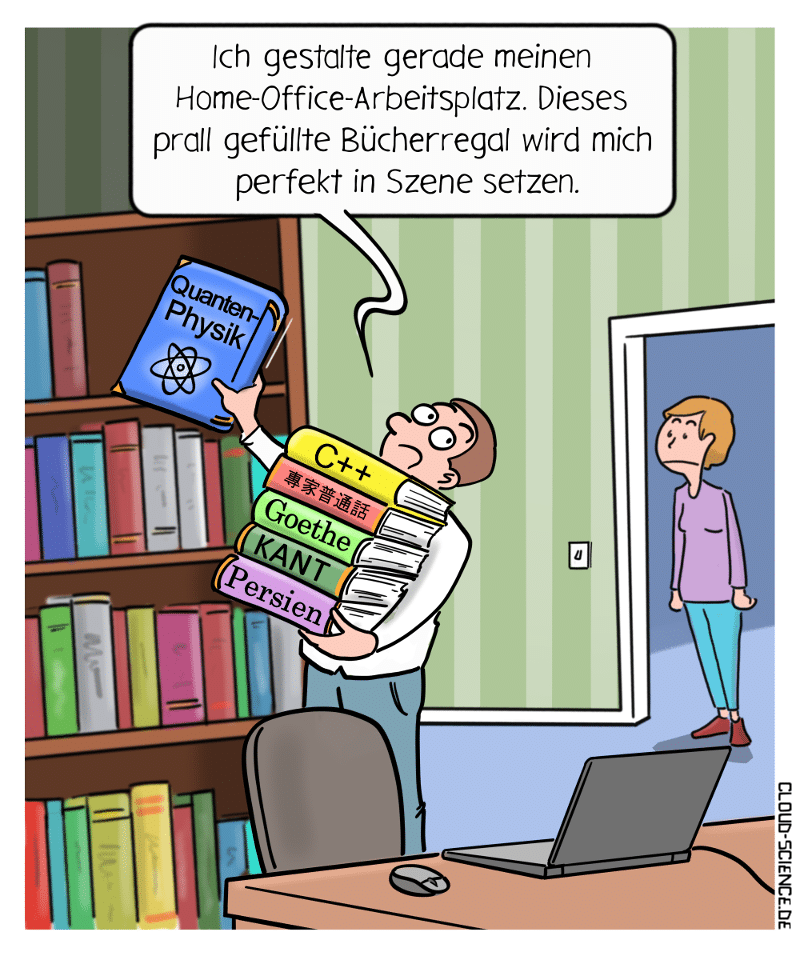 Home-Office Arbeitsplatz Bücherregal Cartoon