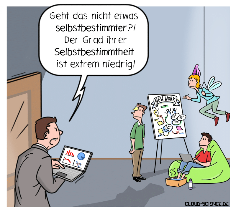 Selbstbestimmtheit New Work Peopple Analytics Cartoon