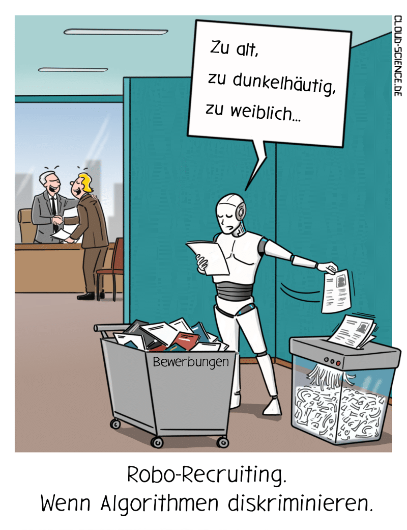 Robo-Recruiting Diskriminierung Rassismus Gefahr Cartoon Illustration Karikatur