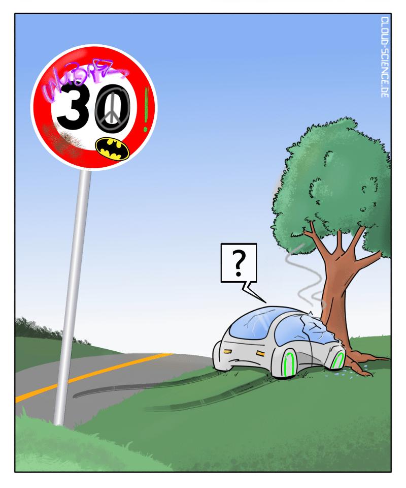 Autonomes Fahren Gefahren Risiko Kamera KI Verkehrszeichen Strassenschild Cartoon