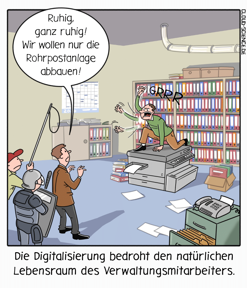 Digitalisierung Verwaltung Widerstände Veränderung Cartoon Karikatur