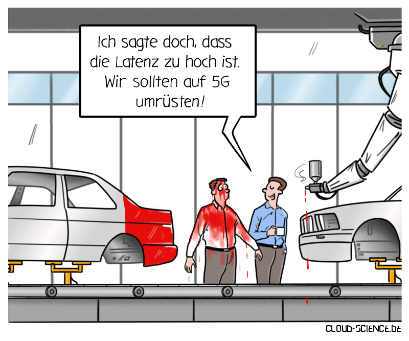 5G Latenz Cartoon Karikatur Industrie