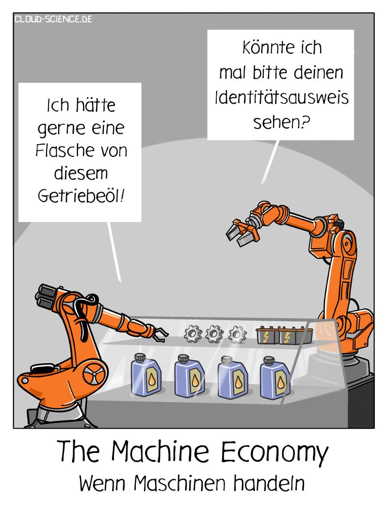 Machine Economy Maschinenidentität Roboter handeln selbstständig Cartoon Karikatur
