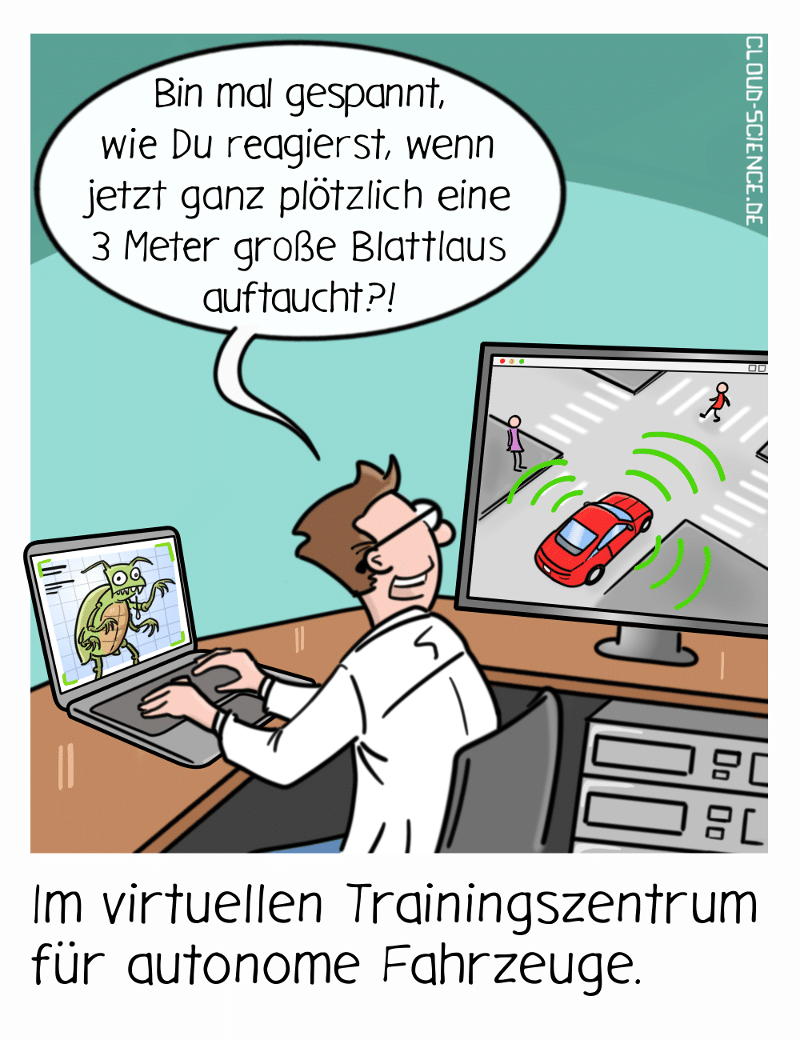 KI autonomes Fahren Simulation Testing Training Cartoon