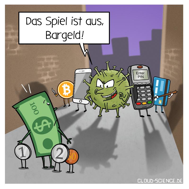 Bargeldlos Bargeld Corona Zahlungsverkehr Cartoon
