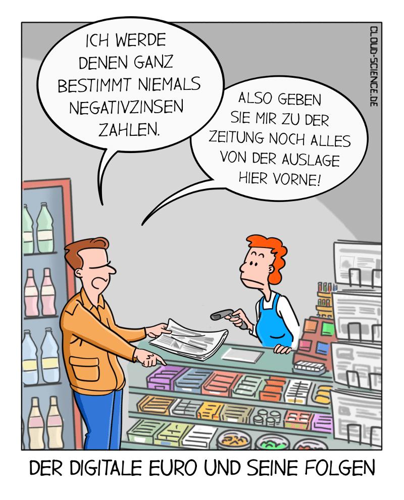 Digitaler Euro Negativzinsen Bargeld Cartoon Karikatur