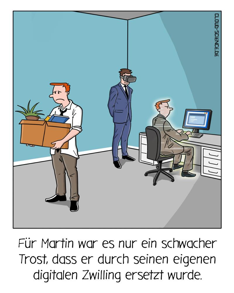 Digitaler Zwilling Arbeit Zukunft Business Cartoon