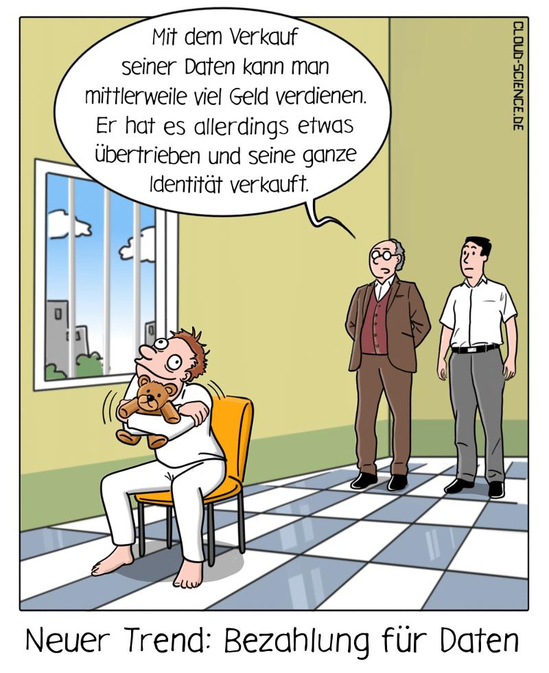 Daten gegen Bezahlung Cartoon Karikatur