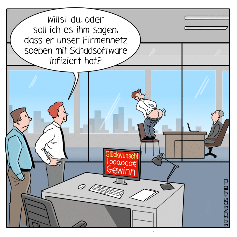 Social Engineering Phishing IT-Sicherheit Cartoon Karikatur