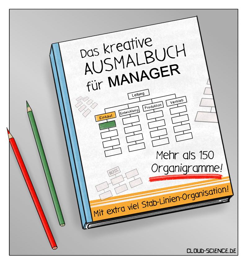 Ausmalbuch Manager Agilität Hierarchie Change Karikatur Cartoon