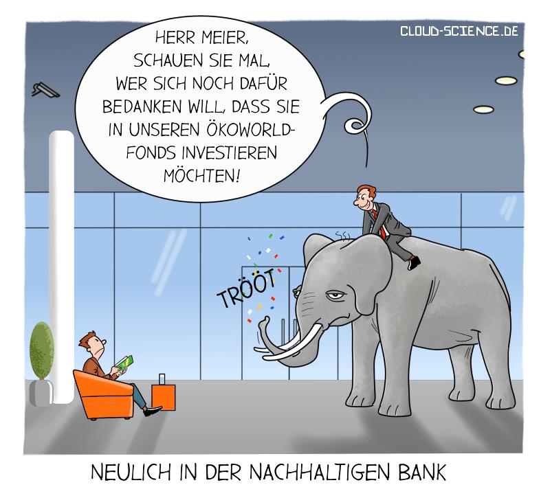Sustainable Finance Nachhaltige Finanzierung Bank Business Cartoon Karikatur