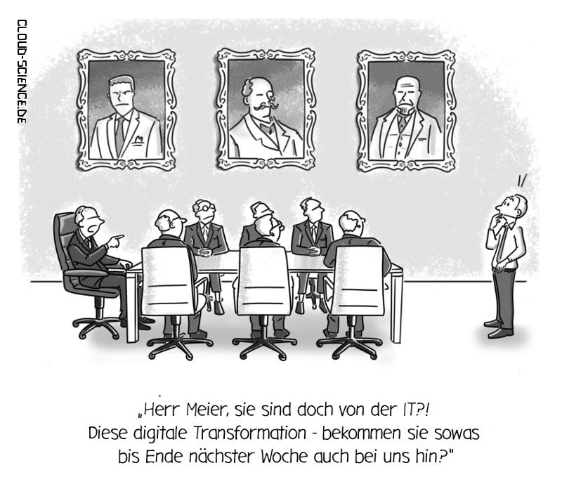 Digitale Transformation Wandel Change Business Cartoon Karikatur