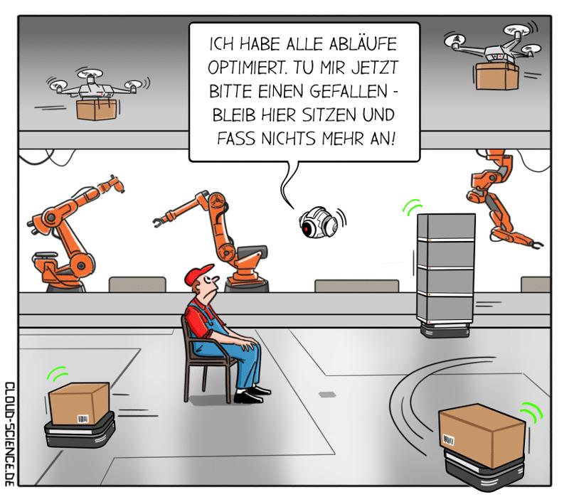 KI Künstliche Intelligenz optimiert Prozesse RPA Cartoon Karikatur Illustration