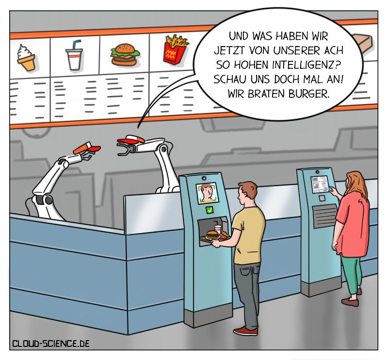 Roboter braten Burger. Flippy Automatisierung KI Cartoon