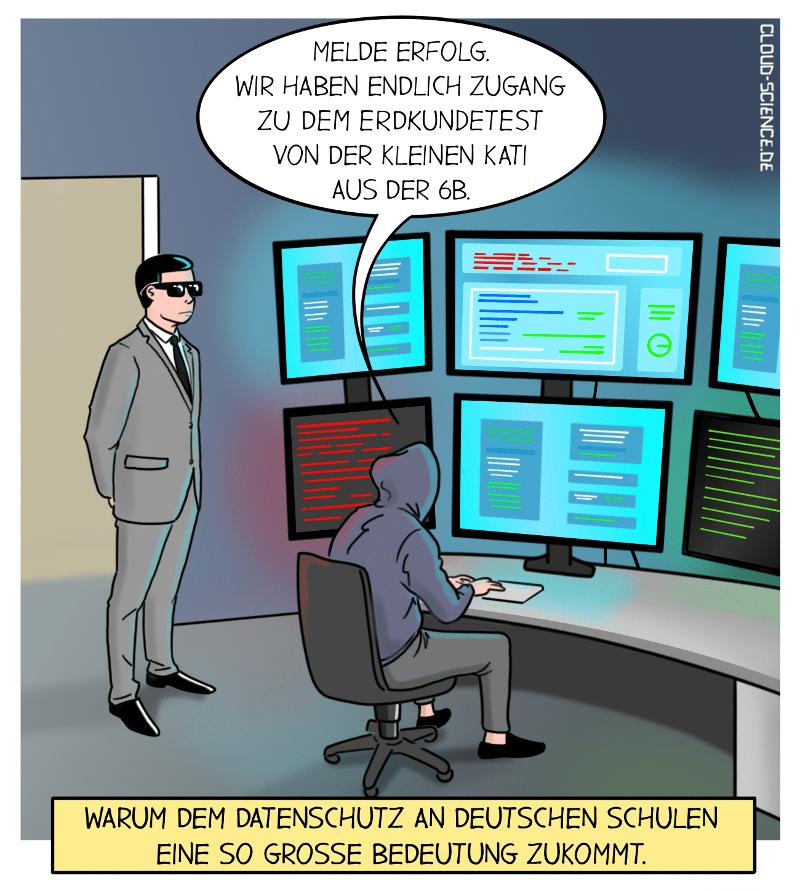 Online-Unterricht Datenschutz Cartoon Karikatur